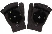 J-E11.1 Kids Gloves with Flower Grey