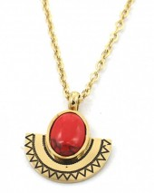 B-F4.2 N2004-002G S. Steel Necklace 15mm Aztek Charm and Stone Gold