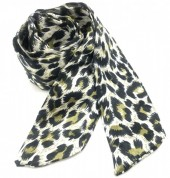 H415-003F Hair Scarf with Leopard Print 100x5cm Green