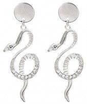 B-C23.2 E1631-049B Earrings Snake with Crystals  6x2cm SilverB-C23.2 E1631-049B Earrings Snake with Crystals  6x2cm Silver