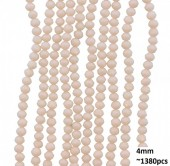 B-E4.4  Faceted glass beads 4mm About 1380pcs Nude Pink