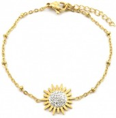 D-D8.1 B2020-003G S. Steel Bracelet 15mm Flower with Crystals Gold