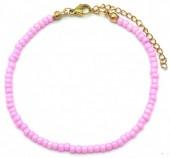 A-C17.6 B2061-001J Bracelet with Glass Beads Pink