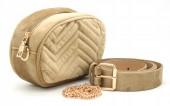 T-K2.1 BAG212-002 Velvet Combination Bag incl Belt 19x12x7cm Brown