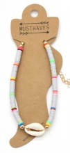 D-B4.5  ANK1925-009 Anklet with Surf Beads and Shell Grey