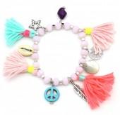 D-A2.2  B302-007 Elastic Summer Bracelet with Tassels Pink