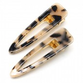 H-F15.1 H413-002A Hair Clip Set 2pcs Marble Brown