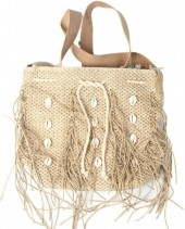 Y-B1.4 BAG533-001A Straw Bag with Fringes and Shells Light Brown