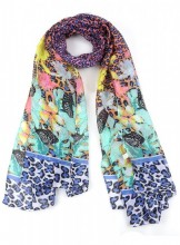 S-K3.2 S313-004 Bright Scarf with Butterflies and Animal Print 90x180cm Multi-Color