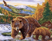 R-G7.2 S197 Diamond Painting Set Bear Family  50x40cm