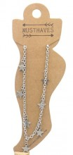 B-F14.1 ANK2110-004 Stainless Steel Anklet Stars