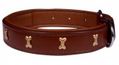 H-D2.1 MTDC-002 Leather Dog Collar with Bones Brown M 53x2.5cm