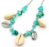 E-C22.2 N2019-046S Necklace Amazon Stones and Shells Silver