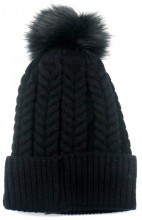 T-P6.1 HAT003-003A Hat with Fake Fur Pompon Black