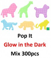 Pop It - Glow in the Dark - Mixed Designs and Colors - 300pcs