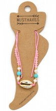 E-A3.2  ANK221-011 Anklet with Beads and Gold Metal Shell Pink