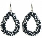A-C19.2 E007-001 Facet Glass Beads 4.5x3.5cm Black-Silver