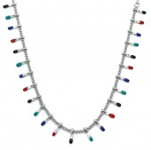 N519-002 S. Steel Necklace Paintdrops Silver