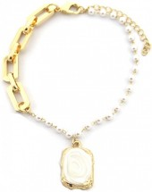 D-E17.5 B2019-003G Chain Bracelet with Pearls Gold
