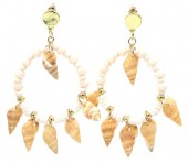 G-B17.1 E536-114A Earrings with Shells 6x4cm White
