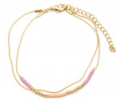 E-B18.4  B426-005 Layered Bracelet with Beads Gold