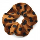 S-F1.2 H001-006 Scrunchie Velvet Polka Dots Brown