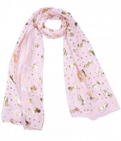 X-B2.1 S311-002 Scarf with Golden Shiny Stars and Unicorns Pink