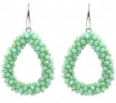 C-C23.2  E007-001 Facet Glass Beads 4.5x3.5cm Green