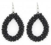 A-C16.1 E007-001 Facet Glass Beads 4.5x3.5cm Black